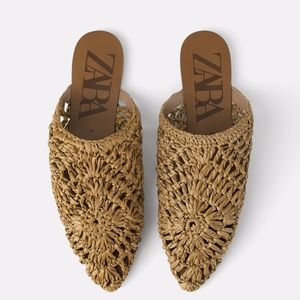 NEW ZARA NATURAL FLAT BABOUCHES WOVEN STRAW MULES